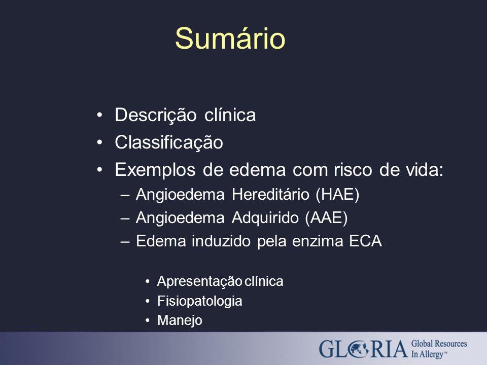 Sumário Descrição clínica Classificação Exemplos de edema com risco de vida: –Angioedema Hereditário (HAE) –Angioedema Adquirido (AAE) –Edema induzido