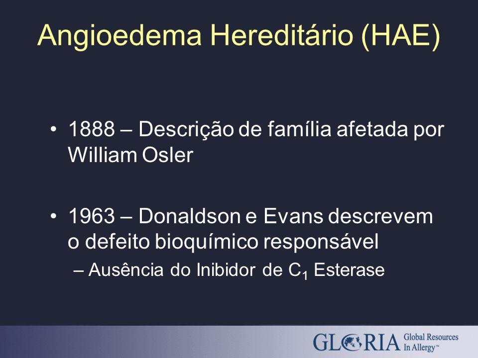 Angioedema Hereditário (HAE) 1888 – Descrição de família afetada por William Osler 1963 – Donaldson e Evans descrevem o defeito bioquímico responsável