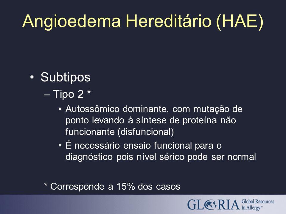 Angioedema Hereditário (HAE) Subtipos –Tipo 2 * Autossômico dominante, com mutação de ponto levando à síntese de proteína não funcionante (disfunciona