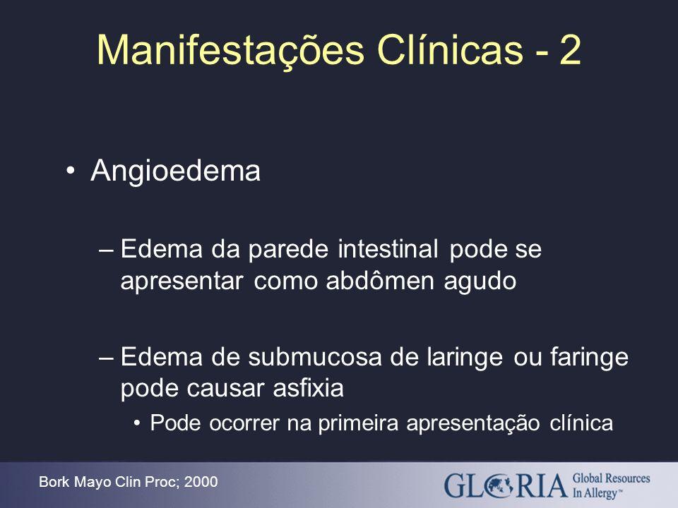 Manifestações Clínicas - 2 Angioedema –Edema da parede intestinal pode se apresentar como abdômen agudo –Edema de submucosa de laringe ou faringe pode