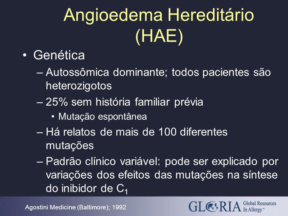 Angioedema Hereditário (HAE) Agostini Medicine (Baltimore); 1992 Genética –Autossômica dominante; todos pacientes são heterozigotos –25% sem história