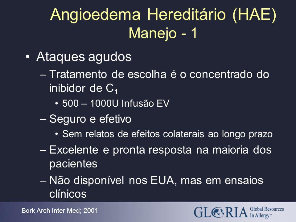 Angioedema Hereditário (HAE) Manejo - 1 Ataques agudos –Tratamento de escolha é o concentrado do inibidor de C 1 500 – 1000U Infusão EV –Seguro e efet