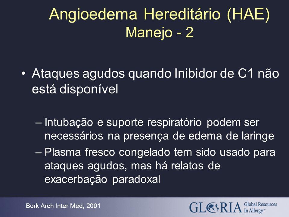 Angioedema Hereditário (HAE) Manejo - 2 Bork Arch Inter Med; 2001 Ataques agudos quando Inibidor de C1 não está disponível –Intubação e suporte respir