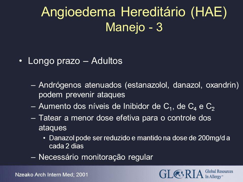 Angioedema Hereditário (HAE) Manejo - 3 Nzeako Arch Intern Med; 2001 Longo prazo – Adultos –Andrógenos atenuados (estanazolol, danazol, oxandrin) pode