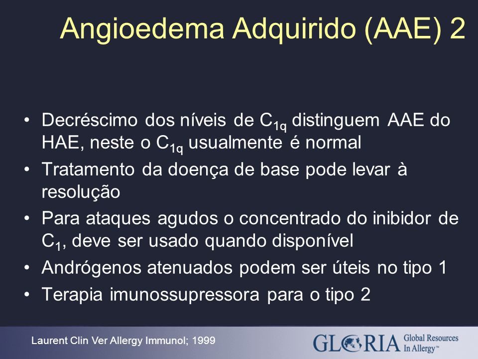 Angioedema Adquirido (AAE) 2 Laurent Clin Ver Allergy Immunol; 1999 Decréscimo dos níveis de C 1q distinguem AAE do HAE, neste o C 1q usualmente é nor