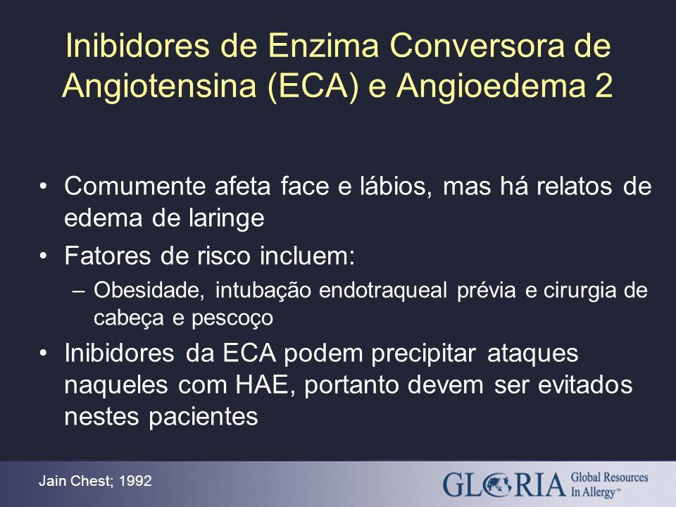Inibidores de Enzima Conversora de Angiotensina (ECA) e Angioedema 2 Jain Chest; 1992 Comumente afeta face e lábios, mas há relatos de edema de laring