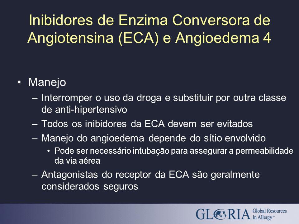 Inibidores de Enzima Conversora de Angiotensina (ECA) e Angioedema 4 Manejo –Interromper o uso da droga e substituir por outra classe de anti-hiperten