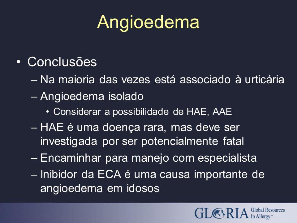 Angioedema Conclusões –Na maioria das vezes está associado à urticária –Angioedema isolado Considerar a possibilidade de HAE, AAE –HAE é uma doença ra