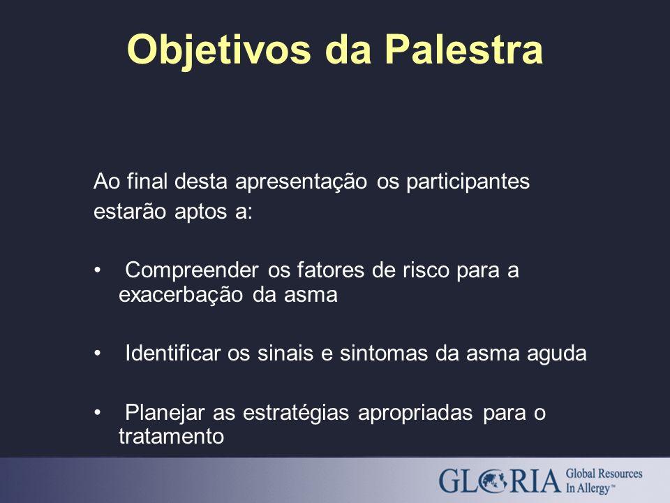 Objetivos da Palestra Ao final desta apresentação os participantes estarão aptos a: Compreender os fatores de risco para a exacerbação da asma Identif