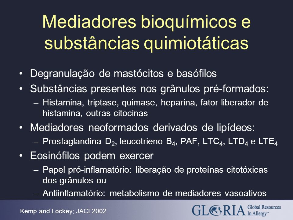 Mediadores bioquímicos e substâncias quimiotáticas Degranulação de mastócitos e basófilos Substâncias presentes nos grânulos pré-formados: –Histamina,