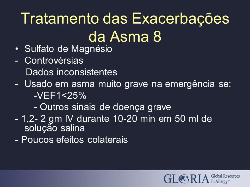 Sulfato de Magnésio -Controvérsias Dados inconsistentes -Usado em asma muito grave na emergência se: -VEF1<25% - Outros sinais de doença grave - 1,2-