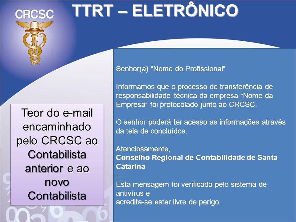 TTRT – ELETRÔNICO Senhor(a) Nome do Profissional Informamos que o processo de transferência de responsabilidade técnica da empresa Nome da Empresa foi