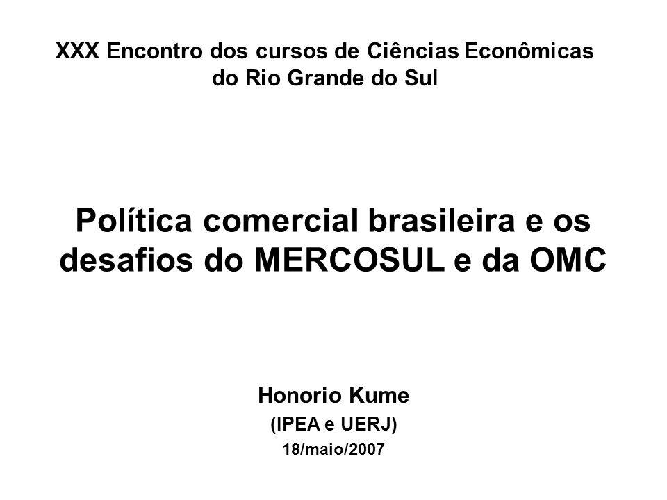 Sumário 1.Abertura comercial brasileira e desempenho do comércio exterior 2.