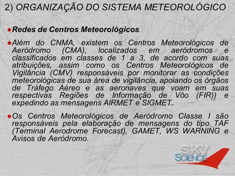 2) ORGANIZAÇÃO DO SISTEMA METEOROLÓGICO Redes de Centros Meteorológicos Além do CNMA, existem os Centros Meteorológicos de Aeródromo (CMA), localizado