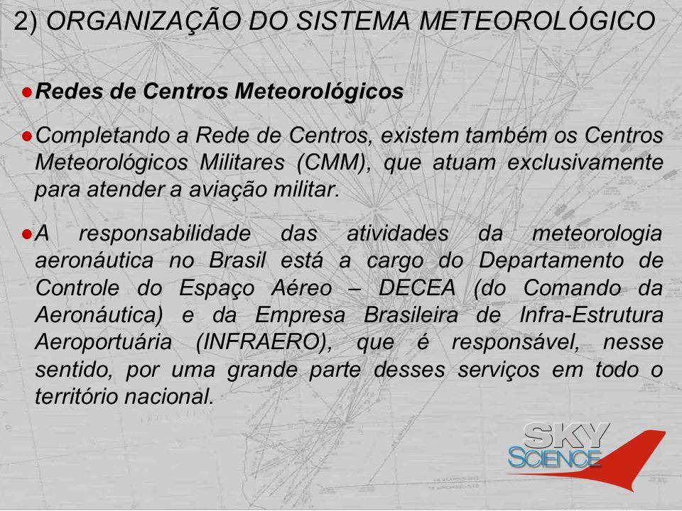 2) ORGANIZAÇÃO DO SISTEMA METEOROLÓGICO Redes de Centros Meteorológicos Completando a Rede de Centros, existem também os Centros Meteorológicos Milita