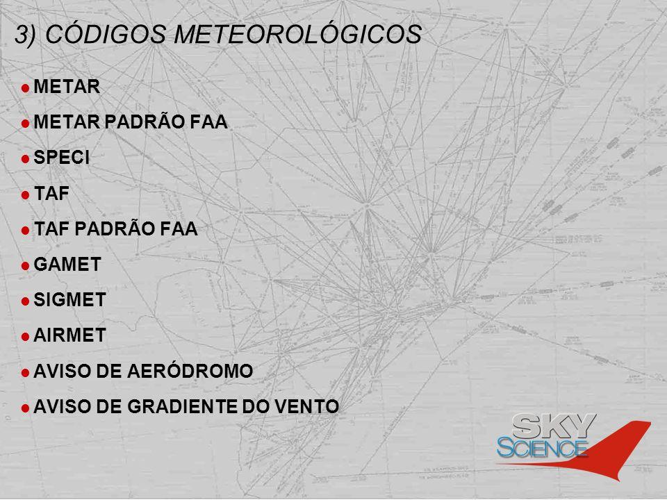 3) CÓDIGOS METEOROLÓGICOS METAR METAR PADRÃO FAA SPECI TAF TAF PADRÃO FAA GAMET SIGMET AIRMET AVISO DE AERÓDROMO AVISO DE GRADIENTE DO VENTO