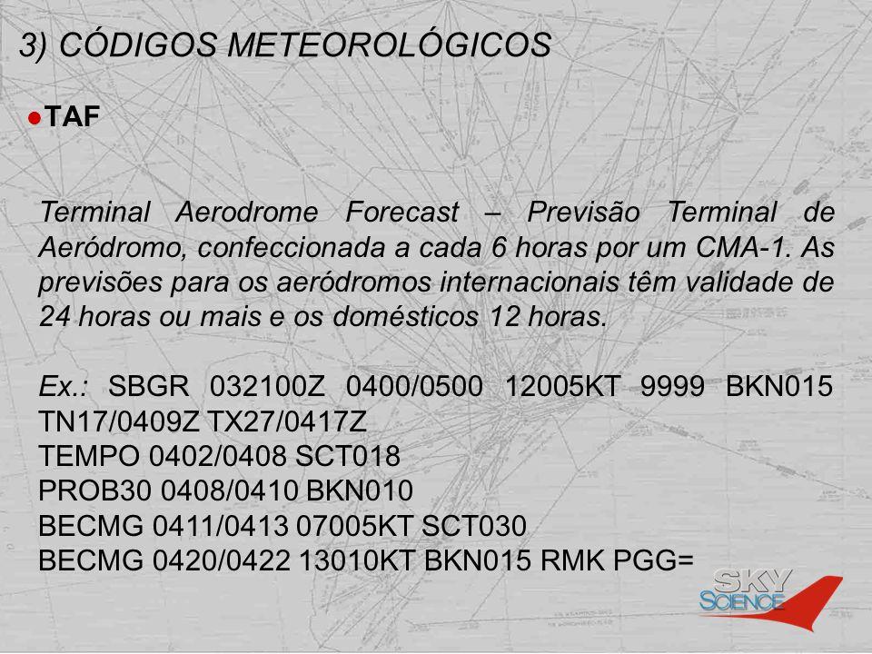 3) CÓDIGOS METEOROLÓGICOS TAF Terminal Aerodrome Forecast – Previsão Terminal de Aeródromo, confeccionada a cada 6 horas por um CMA-1. As previsões pa