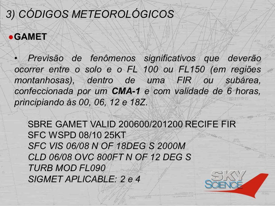 3) CÓDIGOS METEOROLÓGICOS GAMET Previsão de fenômenos significativos que deverão ocorrer entre o solo e o FL 100 ou FL150 (em regiões montanhosas), de