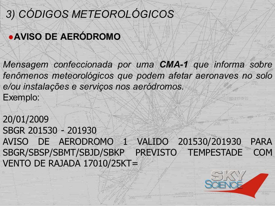 3) CÓDIGOS METEOROLÓGICOS AVISO DE AERÓDROMO Mensagem confeccionada por uma CMA-1 que informa sobre fenômenos meteorológicos que podem afetar aeronave