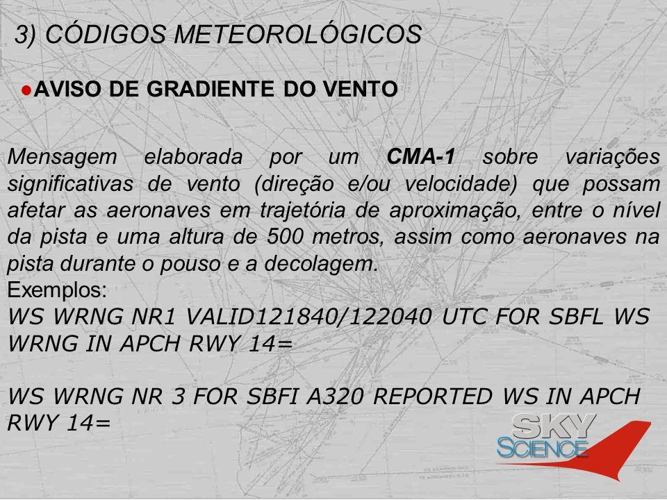 3) CÓDIGOS METEOROLÓGICOS AVISO DE GRADIENTE DO VENTO Mensagem elaborada por um CMA-1 sobre variações significativas de vento (direção e/ou velocidade