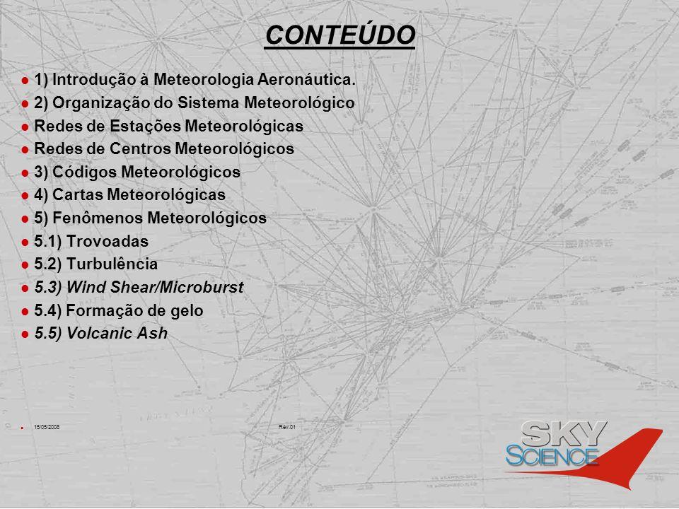 CONTEÚDO 1) Introdução à Meteorologia Aeronáutica. 2) Organização do Sistema Meteorológico Redes de Estações Meteorológicas Redes de Centros Meteoroló