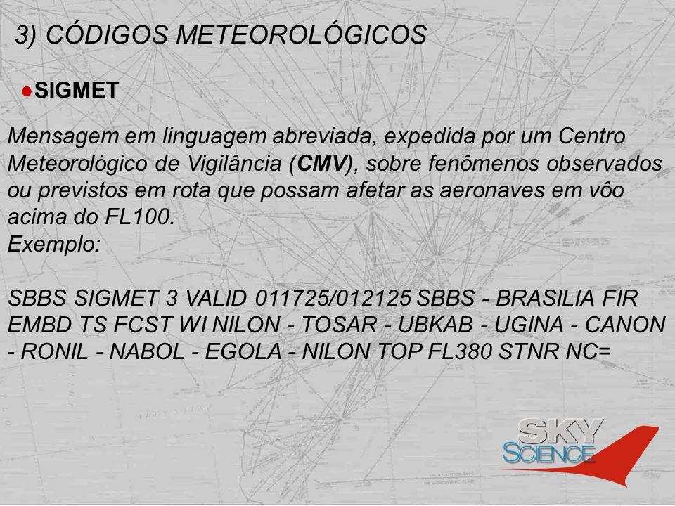 3) CÓDIGOS METEOROLÓGICOS SIGMET Mensagem em linguagem abreviada, expedida por um Centro Meteorológico de Vigilância (CMV), sobre fenômenos observados
