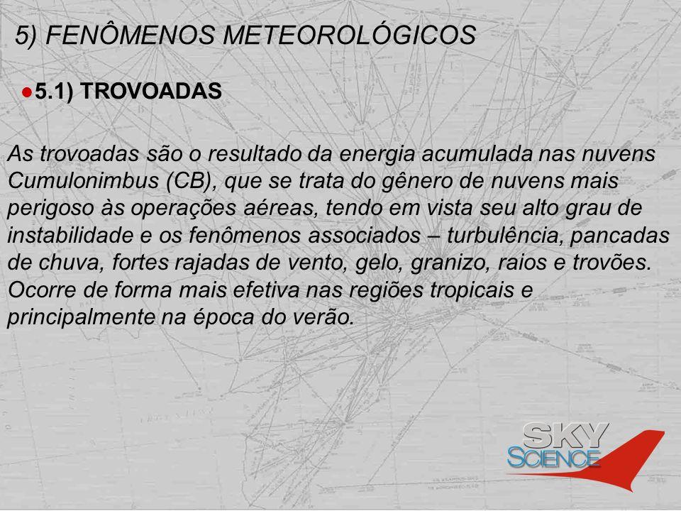 5) FENÔMENOS METEOROLÓGICOS 5.1) TROVOADAS As trovoadas são o resultado da energia acumulada nas nuvens Cumulonimbus (CB), que se trata do gênero de n