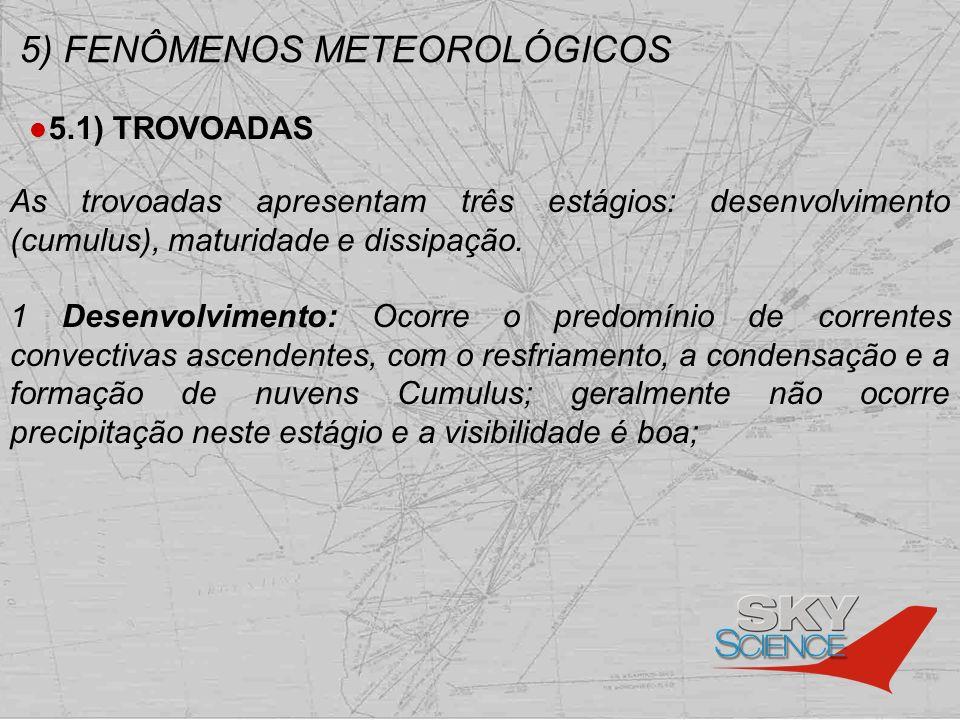 5) FENÔMENOS METEOROLÓGICOS 5.1) TROVOADAS As trovoadas apresentam três estágios: desenvolvimento (cumulus), maturidade e dissipação. 1 Desenvolviment
