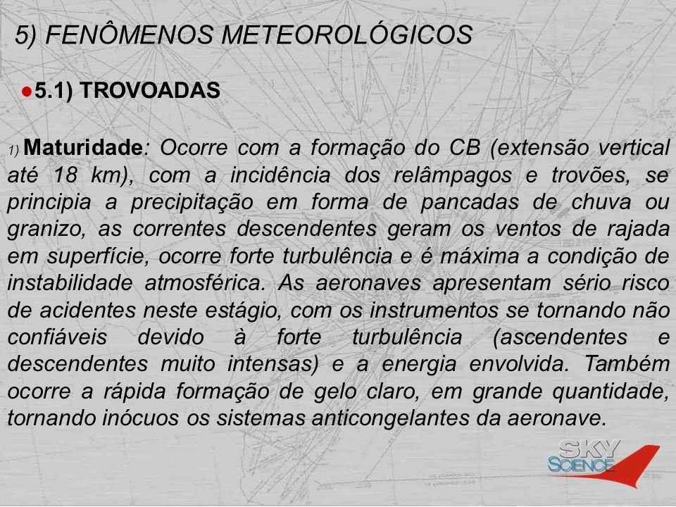 5) FENÔMENOS METEOROLÓGICOS 5.1) TROVOADAS 1) Maturidade: Ocorre com a formação do CB (extensão vertical até 18 km), com a incidência dos relâmpagos e