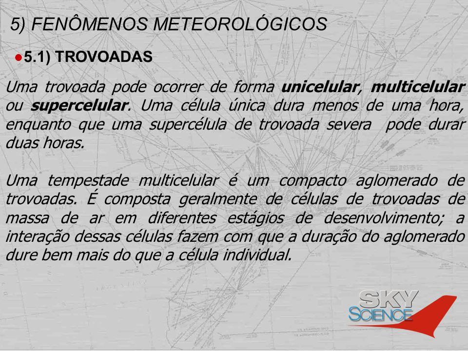 5) FENÔMENOS METEOROLÓGICOS 5.1) TROVOADAS Uma trovoada pode ocorrer de forma unicelular, multicelular ou supercelular. Uma célula única dura menos de