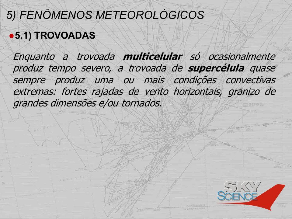 5) FENÔMENOS METEOROLÓGICOS 5.1) TROVOADAS Enquanto a trovoada multicelular só ocasionalmente produz tempo severo, a trovoada de supercélula quase sem