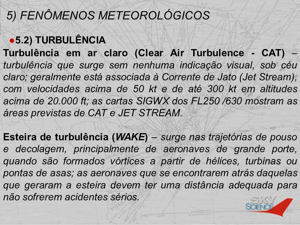 5) FENÔMENOS METEOROLÓGICOS 5.2) TURBULÊNCIA Turbulência em ar claro (Clear Air Turbulence - CAT) – turbulência que surge sem nenhuma indicação visual