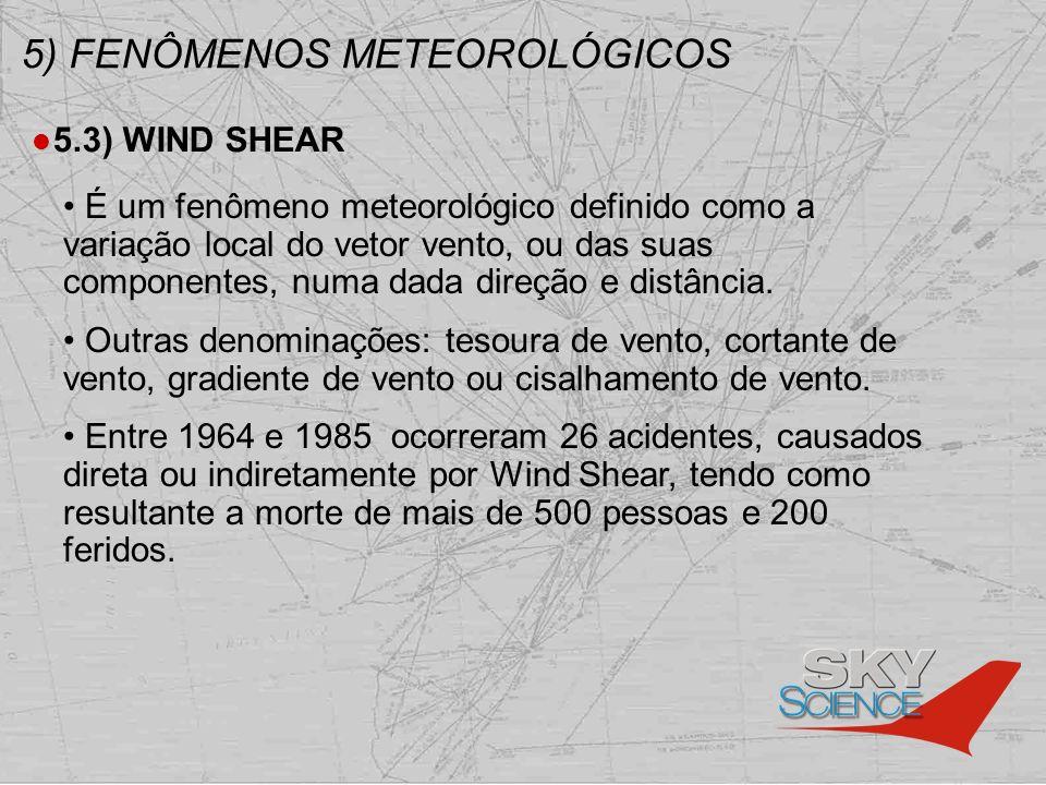 5) FENÔMENOS METEOROLÓGICOS 5.3) WIND SHEAR É um fenômeno meteorológico definido como a variação local do vetor vento, ou das suas componentes, numa d