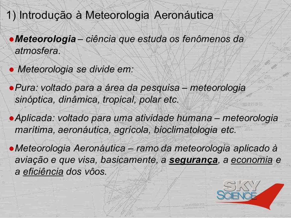 1) Introdução à Meteorologia Aeronáutica Meteorologia – ciência que estuda os fenômenos da atmosfera. Meteorologia se divide em: Pura: voltado para a