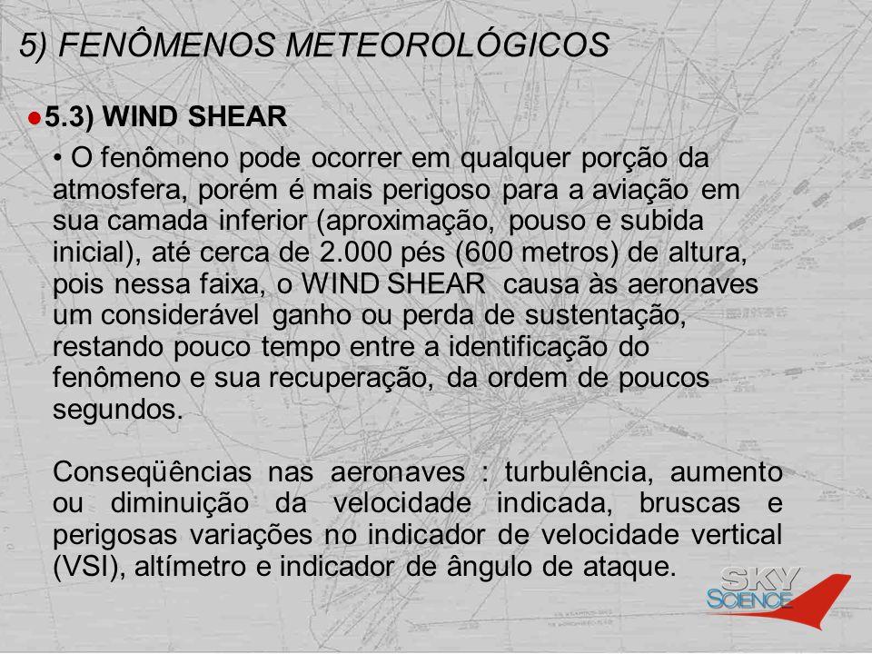 5) FENÔMENOS METEOROLÓGICOS 5.3) WIND SHEAR O fenômeno pode ocorrer em qualquer porção da atmosfera, porém é mais perigoso para a aviação em sua camad