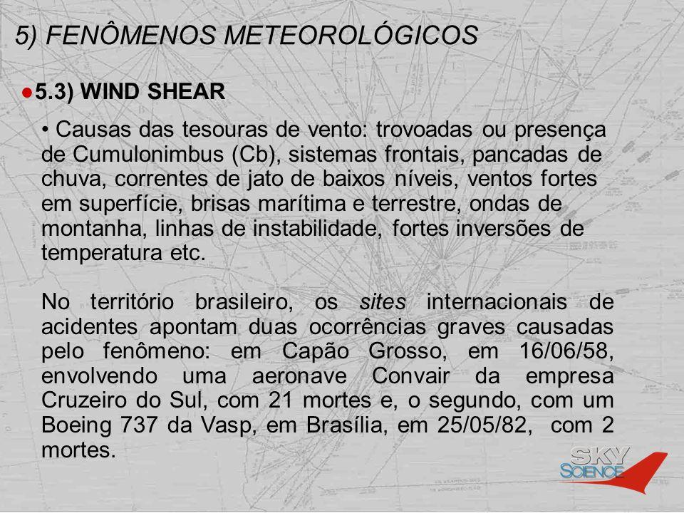 5) FENÔMENOS METEOROLÓGICOS 5.3) WIND SHEAR Causas das tesouras de vento: trovoadas ou presença de Cumulonimbus (Cb), sistemas frontais, pancadas de c