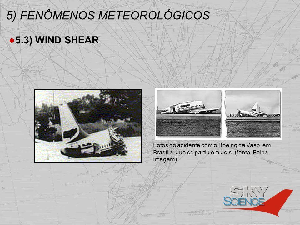5) FENÔMENOS METEOROLÓGICOS 5.3) WIND SHEAR Fotos do acidente com o Boeing da Vasp, em Brasília, que se partiu em dois. (fonte: Folha Imagem)