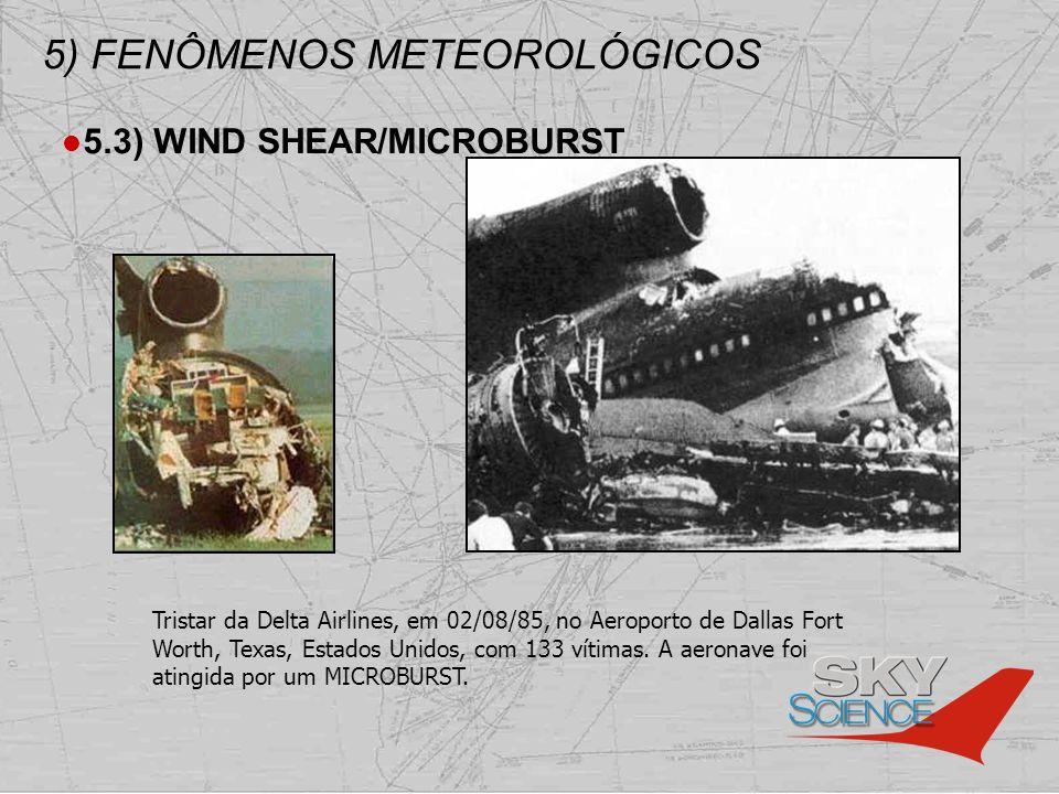5) FENÔMENOS METEOROLÓGICOS 5.3) WIND SHEAR/MICROBURST Tristar da Delta Airlines, em 02/08/85, no Aeroporto de Dallas Fort Worth, Texas, Estados Unido