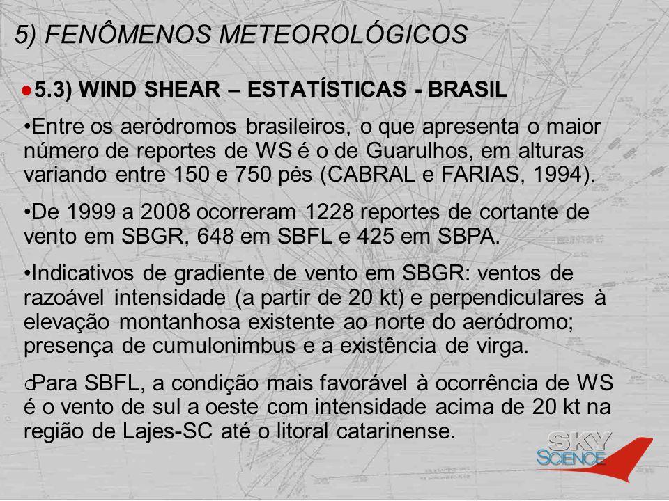 5) FENÔMENOS METEOROLÓGICOS 5.3) WIND SHEAR – ESTATÍSTICAS - BRASIL Entre os aeródromos brasileiros, o que apresenta o maior número de reportes de WS