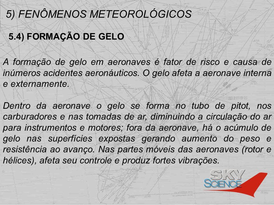5) FENÔMENOS METEOROLÓGICOS 5.4) FORMAÇÃO DE GELO A formação de gelo em aeronaves é fator de risco e causa de inúmeros acidentes aeronáuticos. O gelo