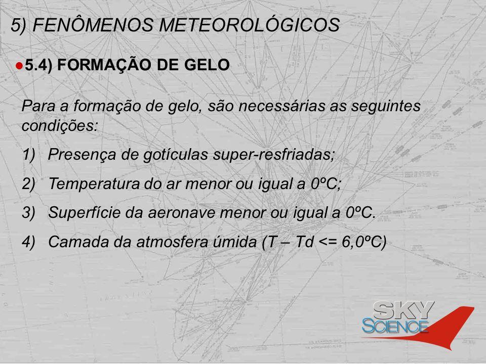 5) FENÔMENOS METEOROLÓGICOS 5.4) FORMAÇÃO DE GELO Para a formação de gelo, são necessárias as seguintes condições: 1) Presença de gotículas super-resf