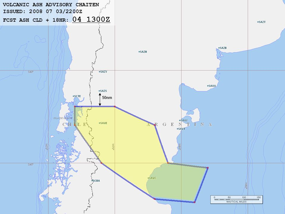 50nm VOLCANIC ASH ADVISORY CHAITEN ISSUED: 2008 07 03/2200Z FCST ASH CLD + 18HR: 04 1300Z