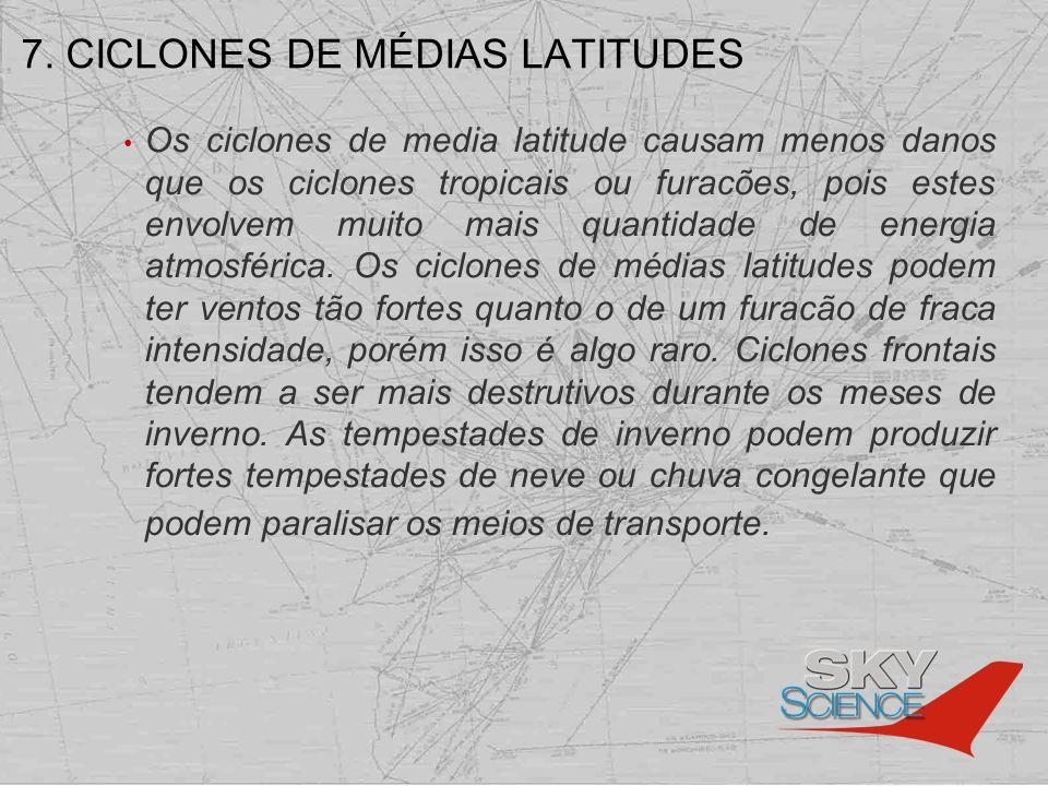 7. CICLONES DE MÉDIAS LATITUDES Os ciclones de media latitude causam menos danos que os ciclones tropicais ou furacões, pois estes envolvem muito mais