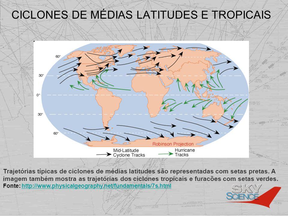 CICLONES DE MÉDIAS LATITUDES E TROPICAIS Trajetórias típicas de ciclones de médias latitudes são representadas com setas pretas. A imagem também mostr