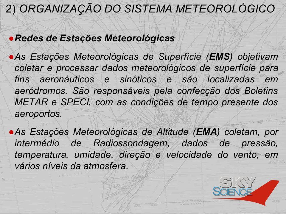 2) ORGANIZAÇÃO DO SISTEMA METEOROLÓGICO Redes de Estações Meteorológicas As Estações de Radar Meteorológico (ERM) tem como escopo realizar a vigilância contínua na área de cobertura dos radares e divulgar as informações obtidas de forma rápida e confiável aos Centros Meteorológicos de Vigilância.