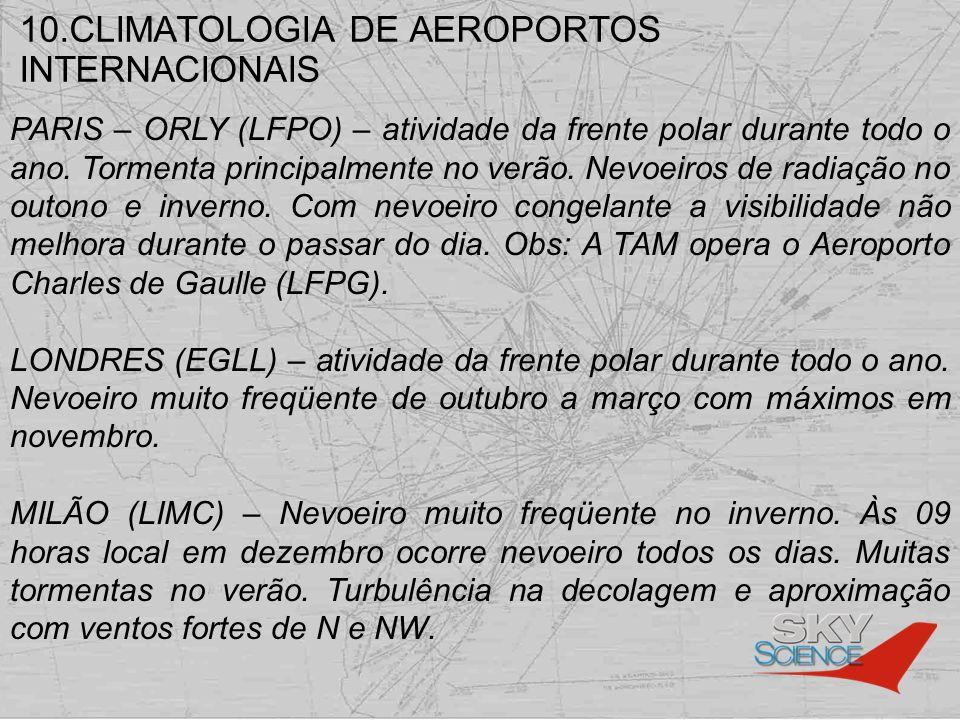 10.CLIMATOLOGIA DE AEROPORTOS INTERNACIONAIS PARIS – ORLY (LFPO) – atividade da frente polar durante todo o ano. Tormenta principalmente no verão. Nev