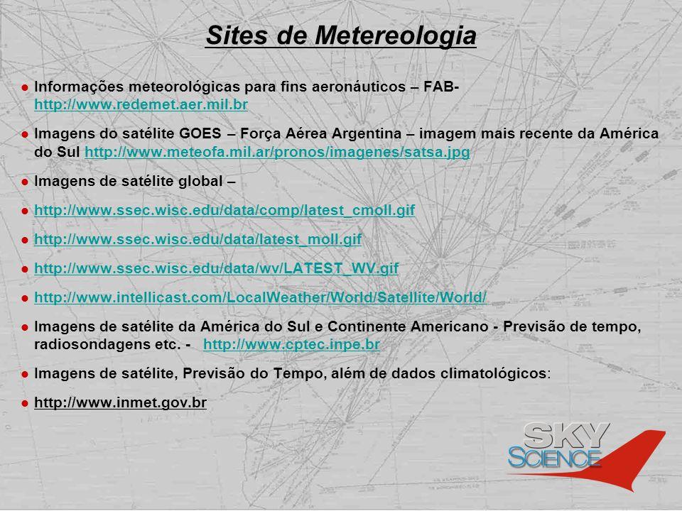 Sites de Metereologia Informações meteorológicas para fins aeronáuticos – FAB- http://www.redemet.aer.mil.br http://www.redemet.aer.mil.br Imagens do