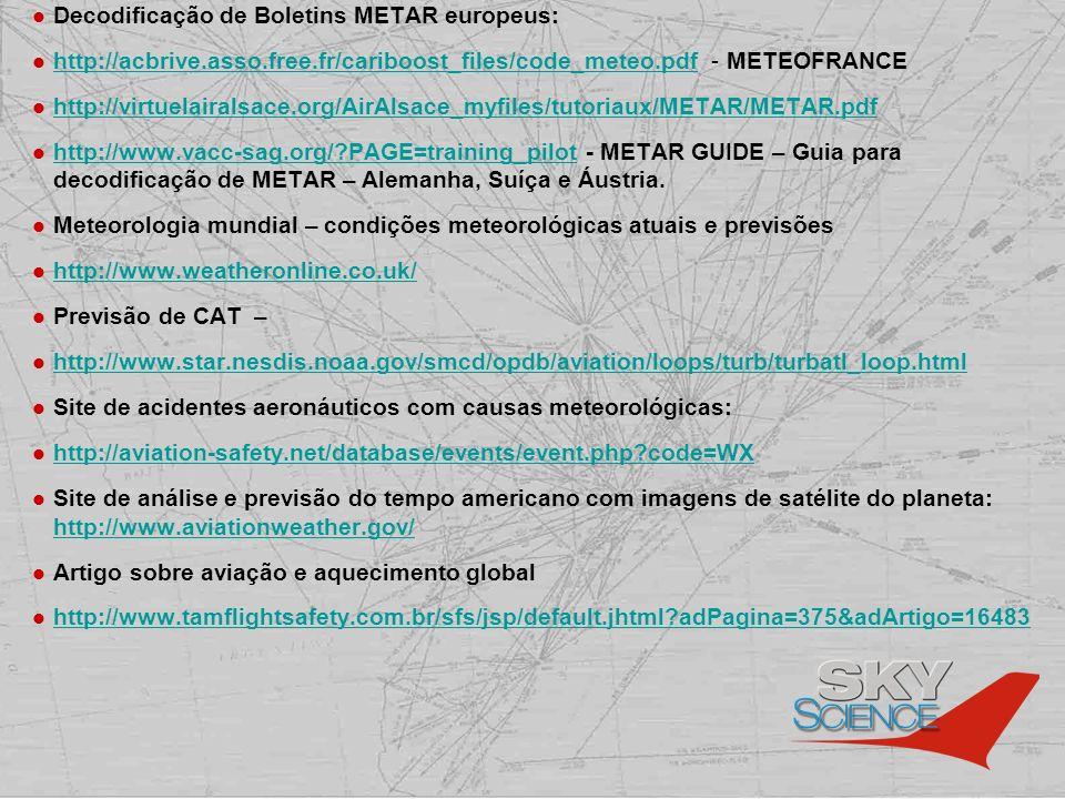 Decodificação de Boletins METAR europeus: http://acbrive.asso.free.fr/cariboost_files/code_meteo.pdf - METEOFRANCE http://acbrive.asso.free.fr/cariboo