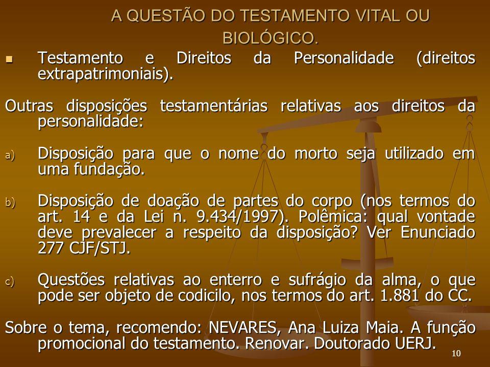 10 A QUESTÃO DO TESTAMENTO VITAL OU BIOLÓGICO.