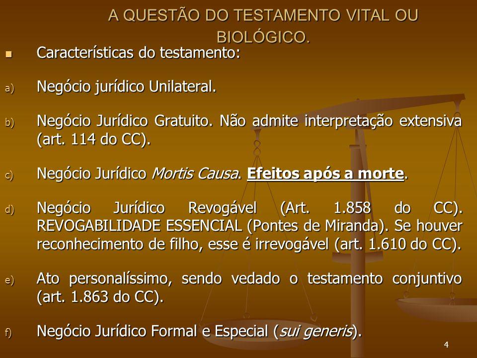 4 A QUESTÃO DO TESTAMENTO VITAL OU BIOLÓGICO.